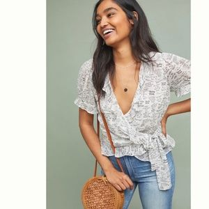 Anthropologie Maeve Love Note Wrap Blouse Top 8 P